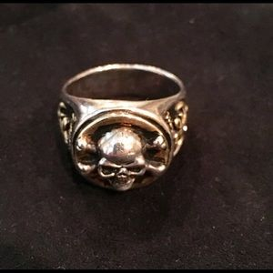 Affliction .925 Silver Skull Fleur De Lis Ring